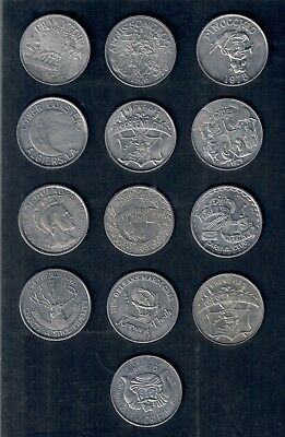 Lot of 13 New Orleans Mardi Gras Parade Doubloons 1965 - 1979