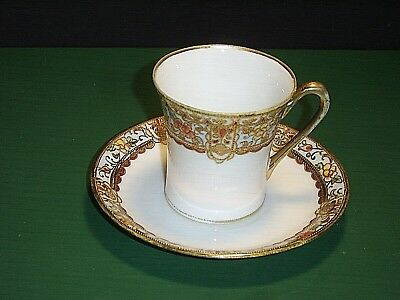 "Noritake Nippon ""M"" Green Wreath Hand Painted Gold Beaded Demitasse Cup & Saucer"