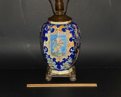 Antique French Italian or Dutch Delft Faience Pottery Jar Lamp Lion Dragons