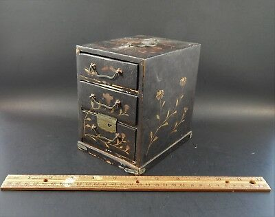Small Antique Japanese Painted Wood Tansu 3 Drawer Box Metal Handles Old Surface