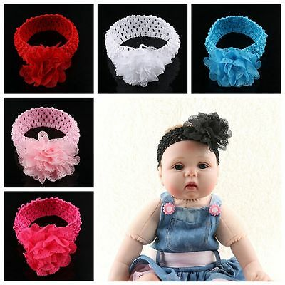 Fashion Flower Baby Girl Crochet Hairband Elastic Headwrap Stretchy Headband