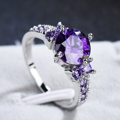 Round Cut Purple Amethyst Gem Crystal Wedding Band Ring Jewelry Gift Size 6-9