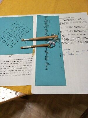 2 Lacemaking Bobbins & 2 Pricked Bobbin Lace Patterns