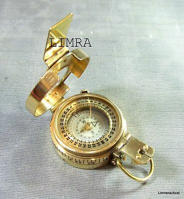 Antique Nautical Brass Military Compass Vintage Collectible Decor Style Gift