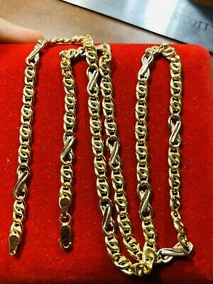 "18K Saudi Gold Mens Chain Necklace With 19"" Long"