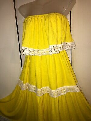 60's Unused BARDINELLA DESIGNS Yellow Terry Beach Cruise Dress Cover Up Size M