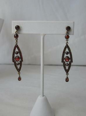 Art Deco Garnet Earrings Antique Edwardian Bohemian Garnets Superb! Art Nouveau