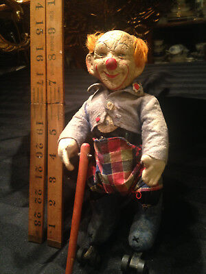 Antique Schuco Tin Wind-up Clown Toy Germany!