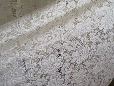 Vintage French Lace Curtain, Bright white. Very large, very long, very lovely.