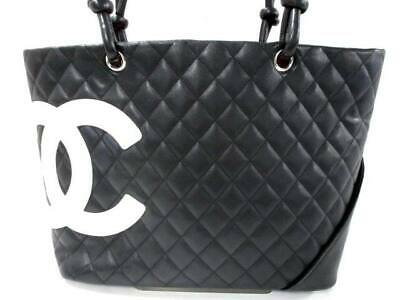 6cc8f560b03a00 AUTHENTIC CHANEL CAMBON Line Tote Bag Black Lambskin #S210009 ...