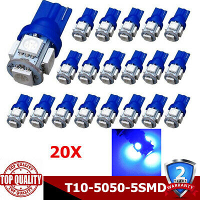 20Pcs Blue T10 5SMD 5050 Cars LED Wedge Lights Plate License 194 168 2825 Bulbs
