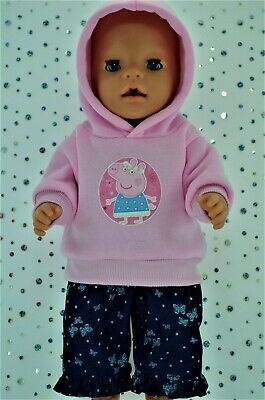 "Play n Wear Doll Clothes To Fit 17"" Baby Born PINK HOODIE~DENIM PATTERN PANTS"