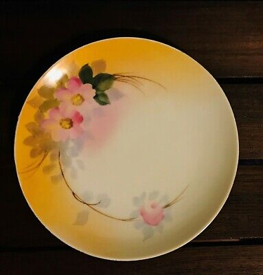 """Gorgeous  Vintage Nippon Plate 6.5"""" across Hand Painted Flowers, Green Red Stamp"""