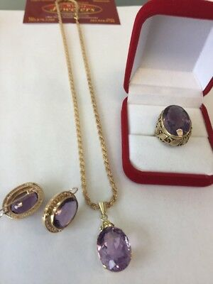 Antique 14 Kt Amethyst ,Victorian Style  , Ears , Ring ,& Pendant