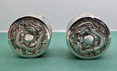 2 Chinese Export Silver boxes 19 c Superb Dragon Detailed body  lid KG 90 159 g