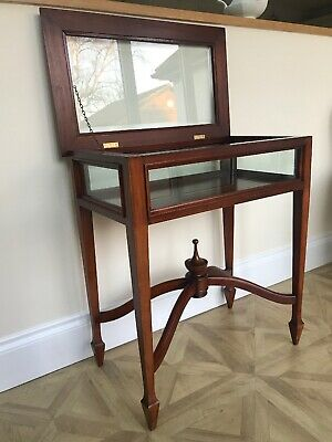 Mahogany Bijouterie Glass Display Table / Cabinet
