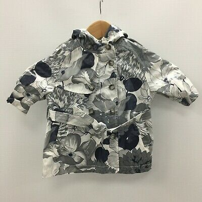 BURBERRY Grey Floral Cotton Hooded Belt Rain Jacket Baby Age 6 Months TH03240