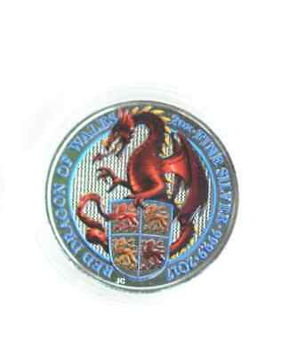 2 pcs x 2 oz 2017 Coloured Silver  .9999 The Queen´s Beasts Red Dragon of Wales
