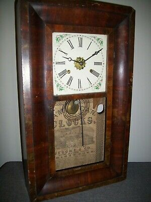 Antique 19th Century Jerome & Co American Walnut Wall Clock (Ogee Extra Bushed)