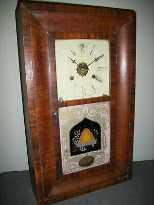 Antique 19th Century Jerome & Co American Walnut Wall Clock (Ogee Weights Chime)