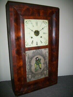 Antique 19th Century Waterbury Clock Co American Walnut Wall Clock (Ogee Weight)