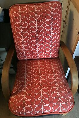 Mid Century Art Deco Vintage Danish Oak Orange and black Lounge Arm Chair 1930s