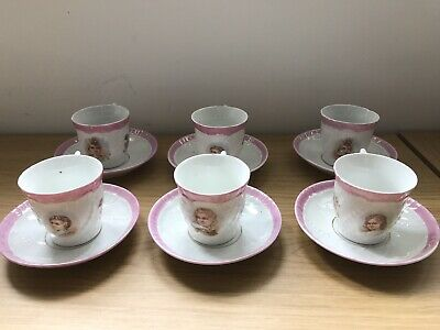 Set 6 Late 19th/Early 20th Century Porcelain Cups & Saucers