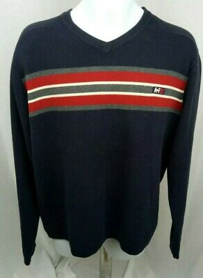 580050af Abercrombie And Fitch Sweater A+92 Vneck Mens Navy w/gray & red Stripes