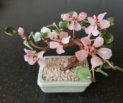 """Vintage Chinese Small Glass Jade Blossom Tree Celadon Pot 6 x 8"""" Signed"""