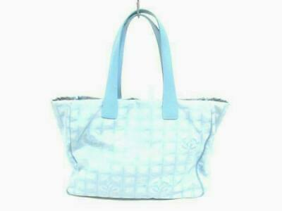 b27e338d423357 Auth CHANEL New Travel Line Tote MM Light Blue Nylon Jacquard Leather Tote  Bag
