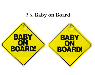 BABY ON BOARD WARNING SAFETY SIGN  for car vehicle with window suction cup