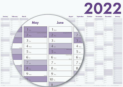 2019 Year Wall Planner ~ Yearly Annual Calendar Chart A2 Size Large 594 x 420 mm