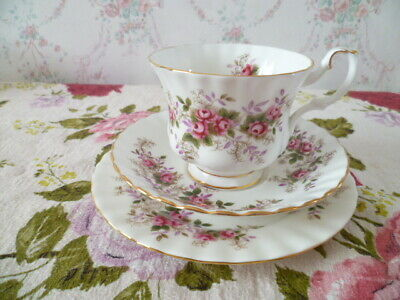 Pretty Royal Albert English China Trio Tea Cup Saucer Plate Lavender  Rose