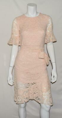 Dkny Womens Pink Lace Elbow Sleeves Party Cocktail Dress 4