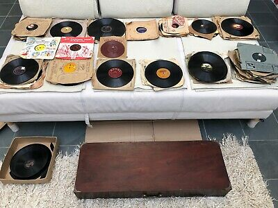 Collection of over 130 Vintage 78rpm Records in wooden box, some rarities