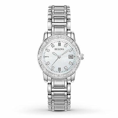 Brand New Bulova Mother of Pearl Diamond Dial tone Stainless Steel 96R105