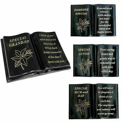 New Memorial Lily Flower Sentimental Grave Plaque Stone Gold Verse Funeral Books