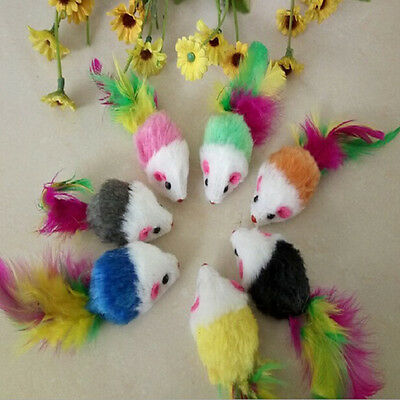 1/5/10x Fleece False Mouse Cat Toys Colorful Feather Playing Toys 5 cm*3cmFDB$