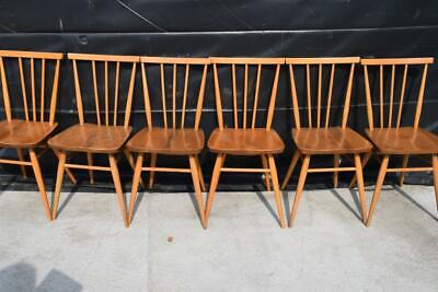 6 Vintage Ercol 1960's Multipurpose Windsor Elm Beech Kitchen/Dining Chairs