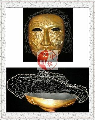 Liao Kingdom Khitay Prince Headgear Armor Gold Flower Face Pendant Silver Mask覆面