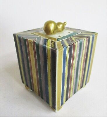 Modern Chinese Porcelain Box & Cover with Striped Detailing
