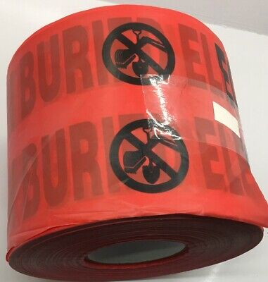 """B6104R6 PRESCO LOT OF 4 Red Caution Buried Electric Line Below Tape 4 MIL, 6"""" x"""