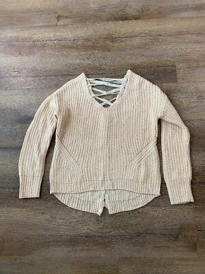 American Rag CIE Pullover Sweater  Lace up back detail Size Med Blush V-neck