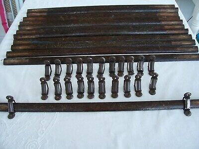 12 Antique Oak Stair Rods Complete With Alloy Fixing Brackets.