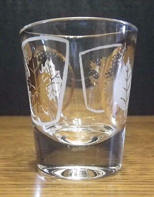 Mid-Century Whiskey Bourbon Shot Glass Barware Bar-Ware w/White & Gold Leafs