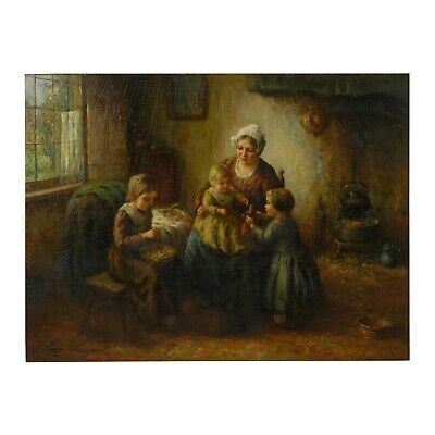 Mother & Children Antique Oil Painting by Cornelius W. Bouter (Dutch, 1888-1966)
