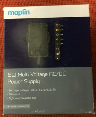 MAPLIN 6v POWER SUPPLY 1000mA 1amp AC/DC Mains Adaptor with 8 tips