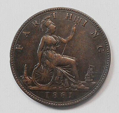 Great Britain 1881 Farthing VF+ Beauty HIGH Grade Queen Victoria UK Bronze Coin