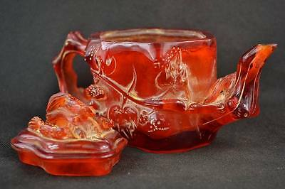 """7.15"""" China Collectibles Old Decorated Handwork Amber Carving Insects Teapot"""