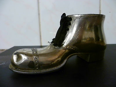 Vintage Silver Plated Miniature Boot, Miniature Silver Plated Shoe, Match Holder